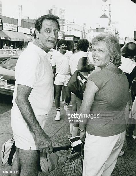 Actor Richard Crenna and wife Penni Sweeney attending 'I Love New York Tennis Tournament' on August 27 1983 at Forest Hills Stadium in New York City...