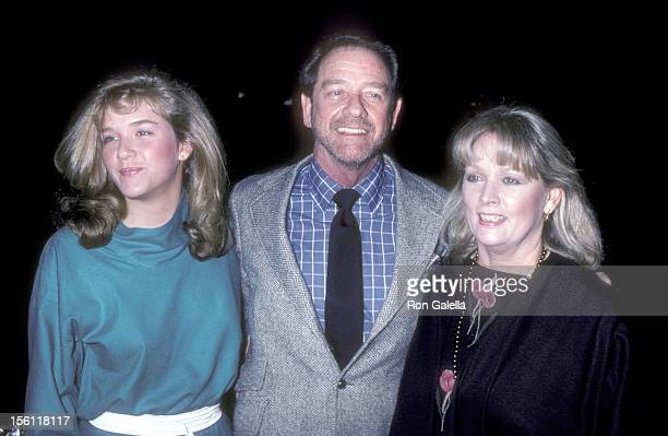 Actor Richard Crenna wife Penni Sweeney and daughter Maria Crenna attend the Jane Wooseter Scott Art Exhibition on April 1 1982 at DeVille Galleries...