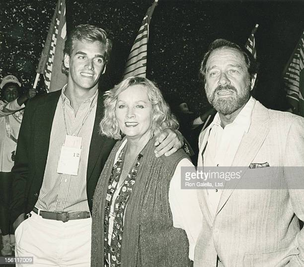 Actor Richard Crenna wife Penni Sweeney and son Richard Crenna attending party on August 12 1984 at Jimmy's Restaurant in Beverly Hills California