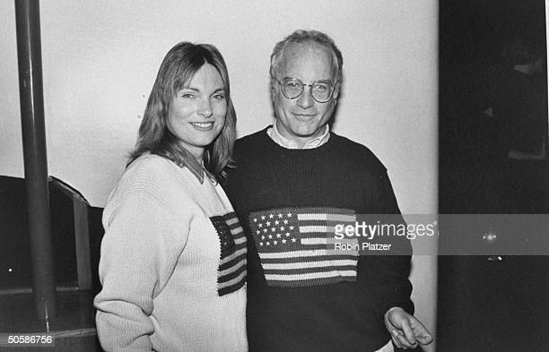 Actor Richard Dreyfuss lupusafflicted wife Jeramie wearing matching Ralph Lauren knitted sweaters w American flags on them