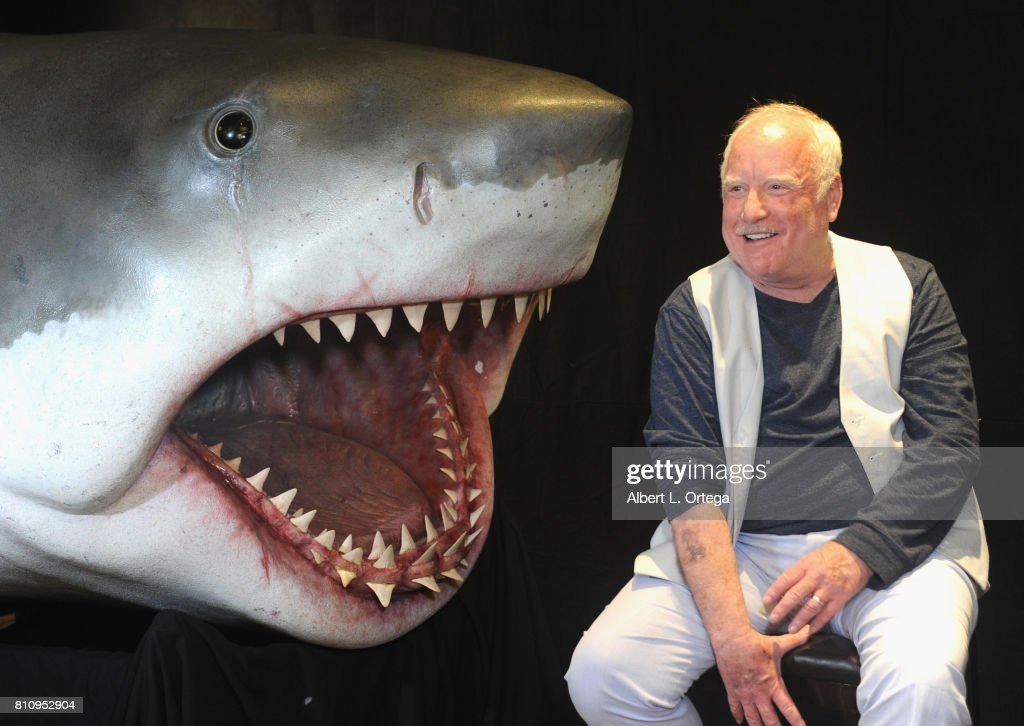 Actor Richard Dreyfuss poses with a model of the shark used in 'Jaws' at The Hollywood Show held at Westin LAX Hotel on July 8, 2017 in Los Angeles, California.