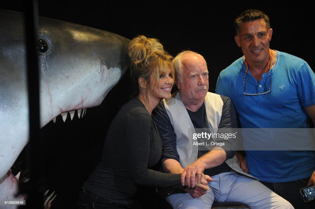 Actor Richard Dreyfuss poses with a model of the shark used in 'Jaws' and fans at The Hollywood Show held at Westin LAX Hotel on July 8, 2017 in Los Angeles, California.