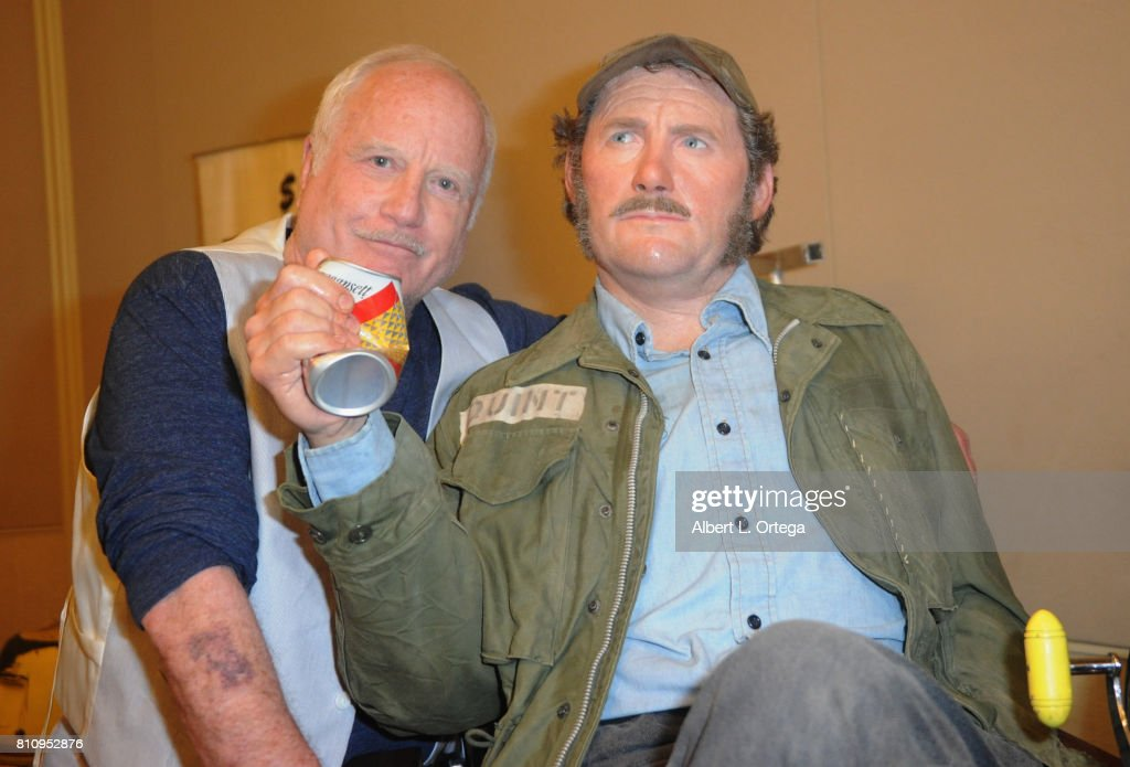 Actor Richard Dreyfuss poses with the model of Robert Shaw's character Quint from 'Jaws' at The Hollywood Show held at Westin LAX Hotel on July 8, 2017 in Los Angeles, California.