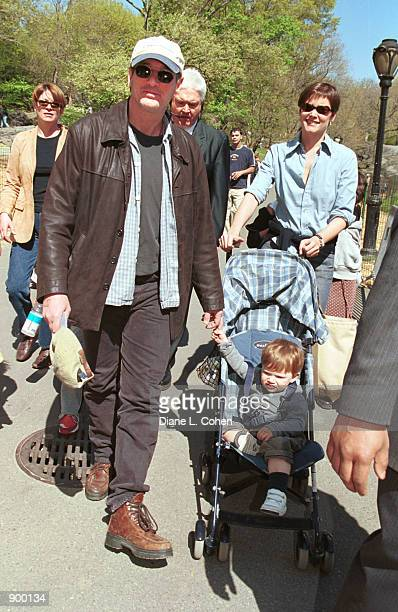 """Actor Richard Gere, actress Carey Lowell and their son Homer James Jigme Gere arrive for the """"Kids for Kids"""" Carnival hosted by The Elizabeth Glaser..."""