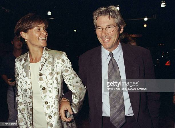 Actor Richard Gere and actress Carey Lowell arrive at the Amnesty International USA Media Spotlight Awards presentations at Pier 60 Gere received a...