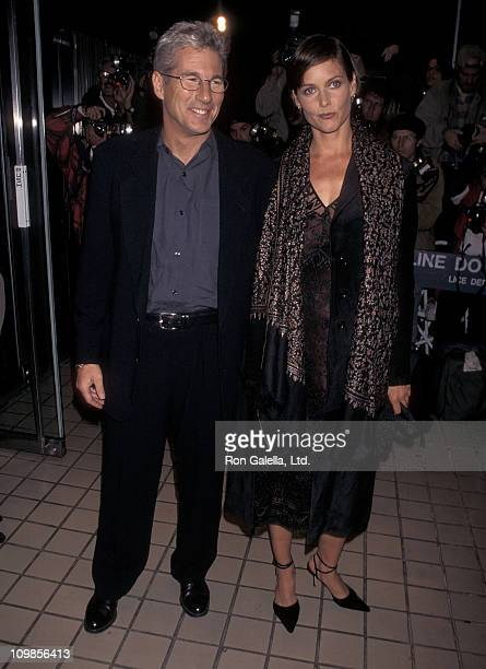 Actor Richard Gere and actress Cary Lowell attend the 'Red Corner' New York City Premiere on October 21 1997 at City Cinemas Cinema 1 in New York City