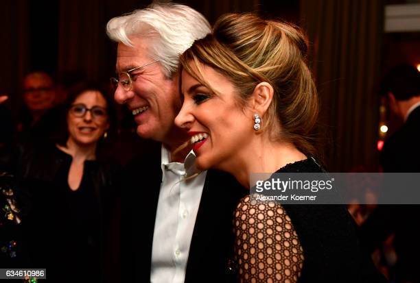 Actor Richard Gere and Alejandra Silva arrive at THE DINNER drinks reception with Grey Goose at Soho House Berlin during the 67th Berlinale...