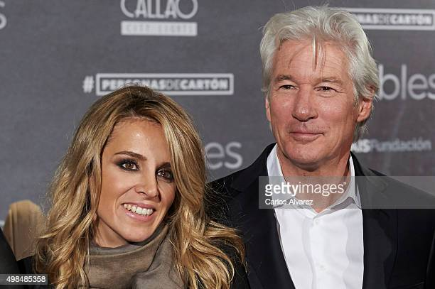 Actor Richard Gere and girlfriend Alejandra Silva attend the Invisibles charity premiere at the Callao cinema on November 23 2015 in Madrid Spain