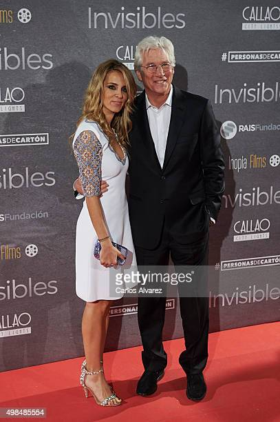 Actor Richard Gere and girlfriend Alejandra Silva attend the 'Invisibles' charity premiere at the Callao cinema on November 23 2015 in Madrid Spain