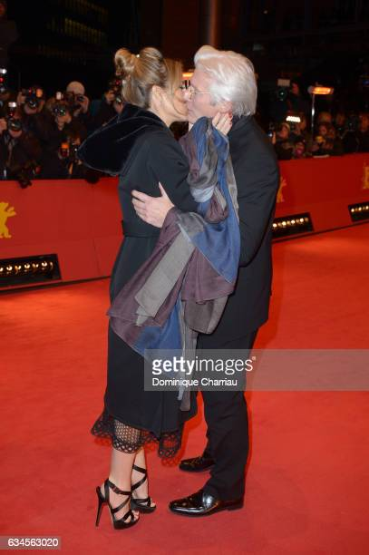 Actor Richard Gere and girlfriend Alejandra Silva attend the 'The Dinner' premiere during the 67th Berlinale International Film Festival Berlin at...