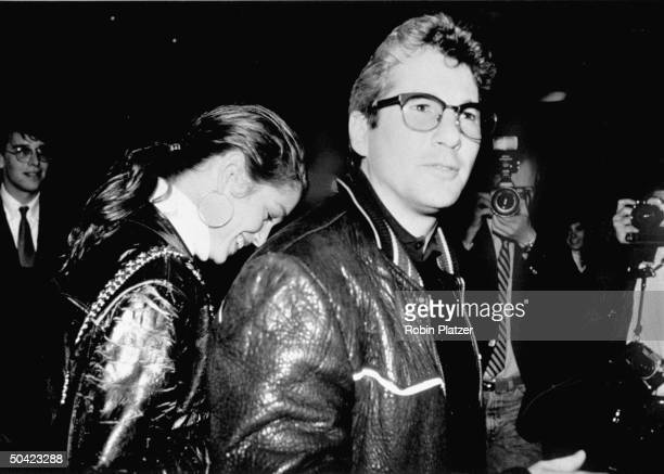 Actor Richard Gere and girlfriend model Cindy Crawford both in leather jackets on their way to the premiere of Cinema Paradiso