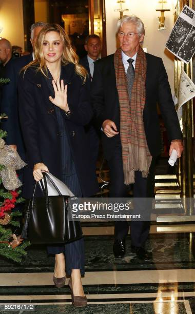 Actor Richard Gere and his girlfriend Alejandra Silva attend Spanish Senate to ask for help for homeless people on December 13 2017 in Madrid Spain