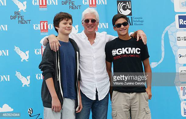 Actor Richard Gere and his son Homer attend the Giffoni Film Festival photocall on July 22, 2014 in Giffoni Valle Piana, Italy.