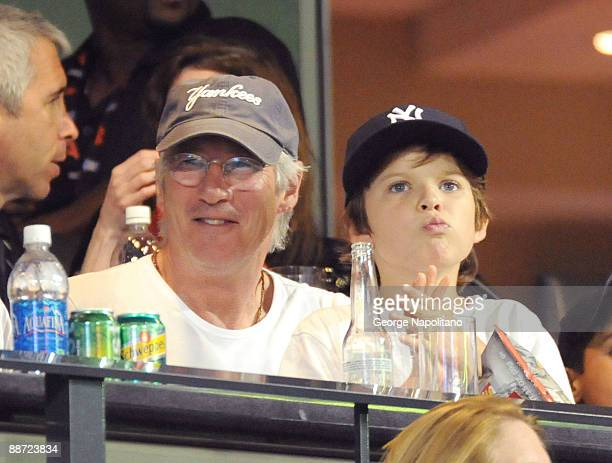 Actor Richard Gere and his son Homer attend theSubway Series game between the New York Mets and the New York Yankees at Citi Field on June 26 2009 in...