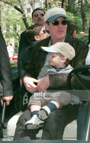 """Actor Richard Gere and his son Homer James Jigme Gere arrive for the """"Kids for Kids"""" Carnival hosted by The Elizabeth Glaser Pediatric AIDS..."""
