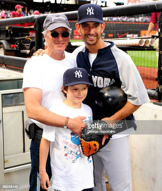 Actor Richard Gere and his son Homer meet Jorge Posada of the New York Yannkees prior to the Subway Series game between the Yankees and the Mets at...