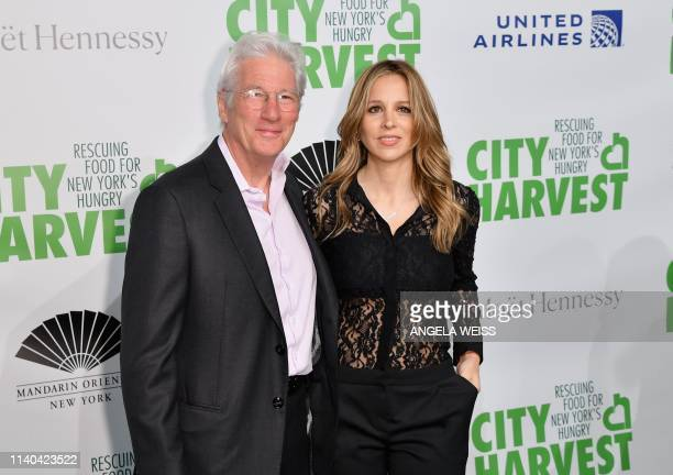 Actor Richard Gere and his wife Spanish publicist Alejandra Silva attend City Harvest: The 2019 Gala on April 30, 2019 at Cipriani 42nd Street in New...