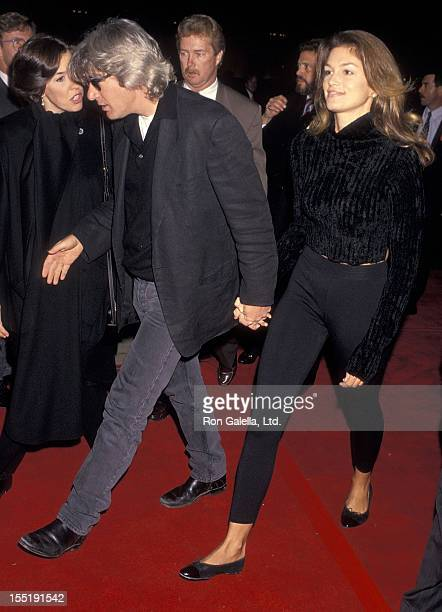 Actor Richard Gere and model Cindy Crawford attend the 'Philadelphia' Century City Premiere on December 14 1993 at Cineplex Odeon Century Plaza...