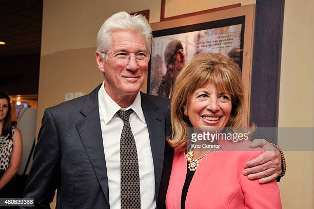 Actor Richard Gere and Rep Jackie Speier attend the Time Out Of Mind Washington DC Screening at Landmark E Street Cinema on July 15 2015 in...