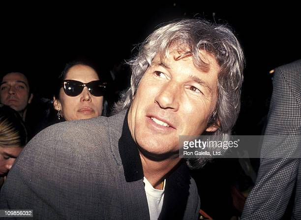 Actor Richard Gere attends the Fall 1994 Fashion Week Isaac Mizrahi Fashion Show on April 12 1994 at Bryant Park in New York City