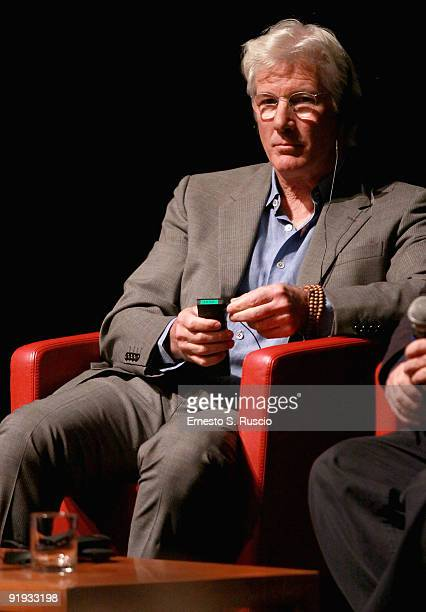Actor Richard Gere attends the 'Hachico A Dog's Story' Press Conference during day 2 of the 4th Rome International Film Festival held at the...