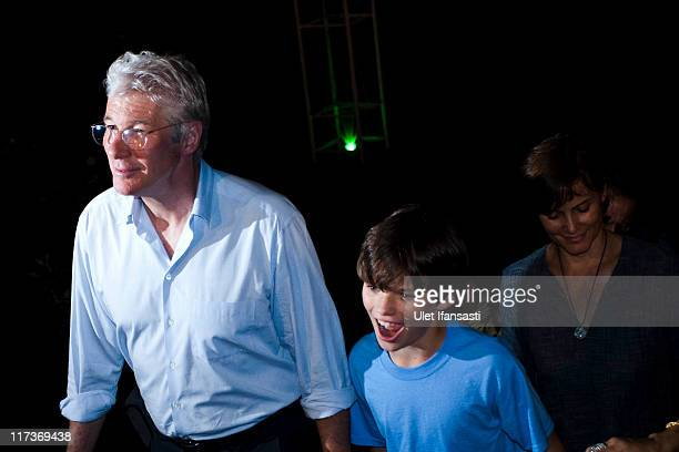 Actor Richard Gere his wife Carey Lowell and son Homer James Jigme attend a performance of a Ballet entitled Mahakarya Borobudur at Aksobya open...