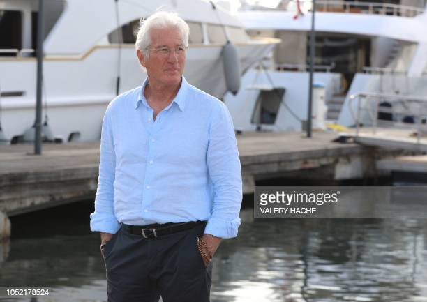 Actor Richard Gere poses during a photocall for a TV serie Motherfatherson as part of the MIPCOM on October 15 2018 in Cannes southeastern France