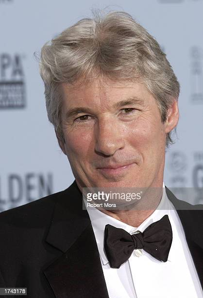 Actor Richard Gere poses with his Best Performance By An Actor In A Motion Picture Musical or Comedy award for Chicago backstage during the 60th...