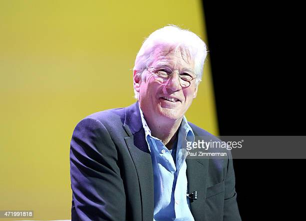 Actor Richard Gere speaks at the 2015 Monclair Film Festival In Conversation With Richard Gere Hosted By Stephen Colbert at the Wellmont Theatre on...