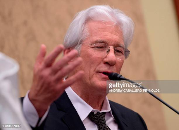 US actor Richard Gere speaks during a memorial event for Tibetan activist Lodi Gyari at the US Capitol in Washington DC on March 12 2019