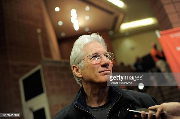 Actor Richard Gere speaks to media during the 'Arbitrage' Premiere at the Eccles Center Theatre during the 2012 Sundance Film Festival on January 21...