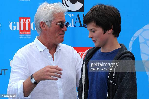 US actor Richard Gere talks to his son Homer during a photocall at the 44th edition of the Giffoni Film Festival for children in Giffoni Valle Piana...