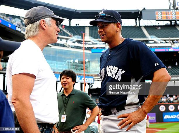 Actor Richard Gere talks with Alex Rodriguez of the New York Yannkees prior to the Subway Series game between the Yankees and the Mets at Citi Field...