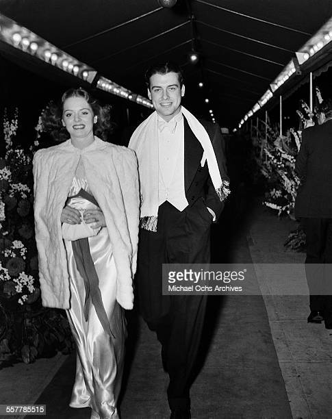 Actor Richard Greene with actress Arleen Whelan arrives to an event in Los Angeles California