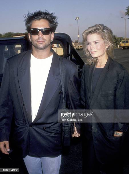 Actor Richard Grieco and girlfriend Kimber Sissons attend the 'FOX Television Affiliates Party' on July 11 1989 in Marina Del Rey California