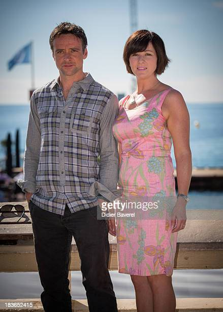 Actor Richard Harrington and actress Mali Harries pose during the photocall of the Tv series 'Hinterland' at Hotel Majestic on October 8 2013 in...