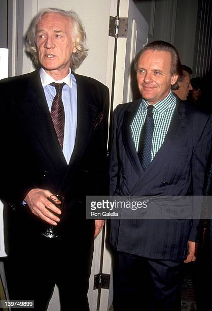 Actor Richard Harris and Actor Anthony Hopkins attend the 28th Annual Publicists Guild of America Awards on March 22 1991 at Beverly Hilton Hotel in...