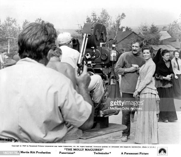 Actor Richard Harris and actress Samantha Eggar behind the scenes on set of the Paramount Pictures movie 'The Molly Maguires' in 1970