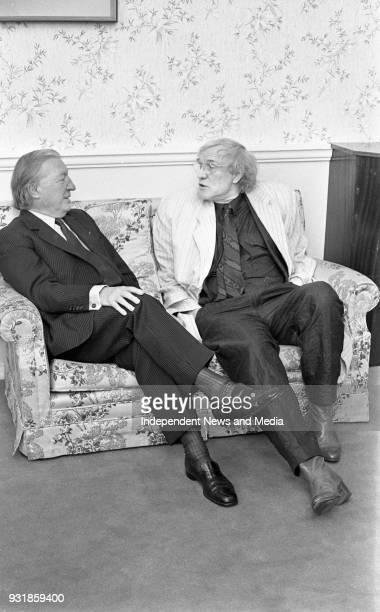 Actor Richard Harris and An Taoiseach Charles Haughey at Government Buildings Dublin circa October 1987