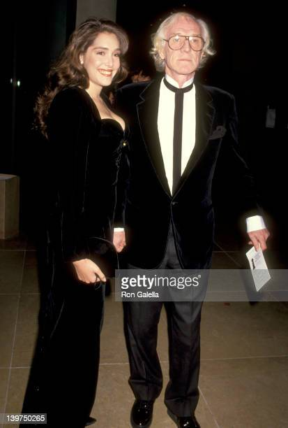 Actor Richard Harris and guest attend the 48th Annual Golden Globe Awards on January 19 1991 at Beverly Hilton Hotel in Beverly Hills California