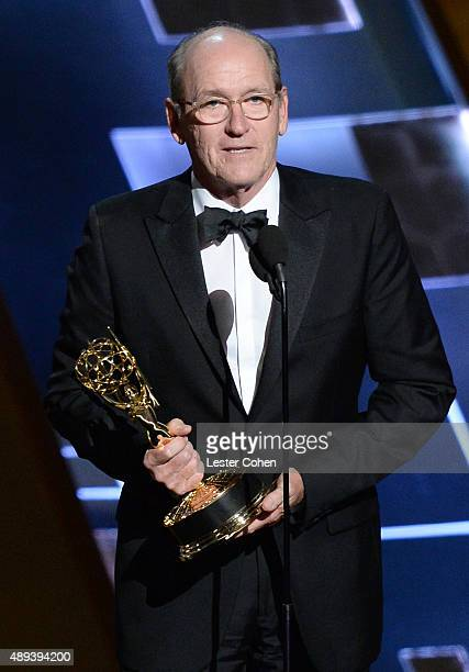 Actor Richard Jenkins accepts an award onstage during the 67th Annual Primetime Emmy Awards at Microsoft Theater on September 20 2015 in Los Angeles...