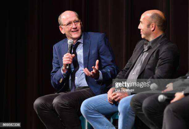 Actor Richard Jenkins and producer J. Miles Dale onstage at 'The Shape of Water' screening at Trustees Theater during 20th Anniversary SCAD Savannah...