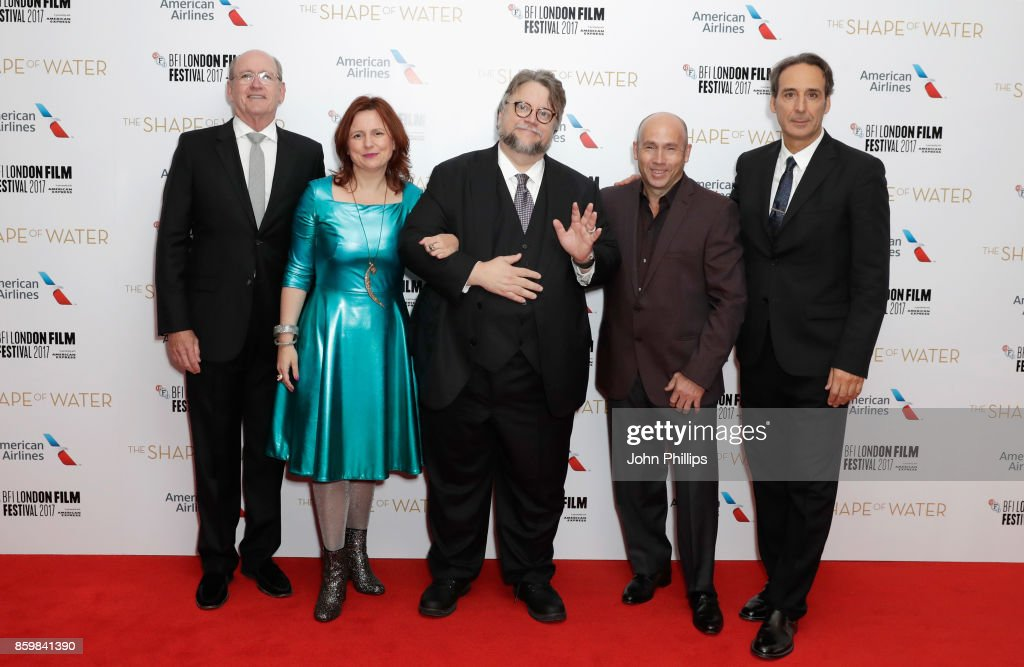 Actor Richard Jenkins, festival director Clare Stewart, director Guillermo del Toro, producer J Miles Dale and film composer Alexandre Desplat attend the American Airlines Gala and UK Premiere of 'The Shape Of Water' during the 61st BFI London Film Festival on October 10, 2017 in London, England.