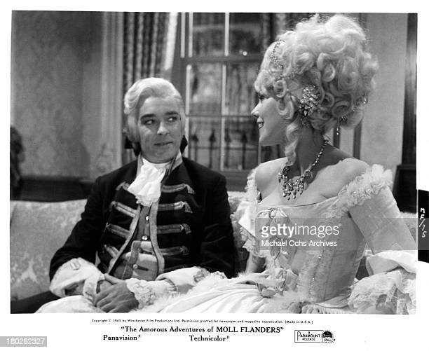 Actor Richard Johnson and actress Kim Novak on set of the Paramount Pictures movie The Amorous Adventures of Moll Flanders in 1965