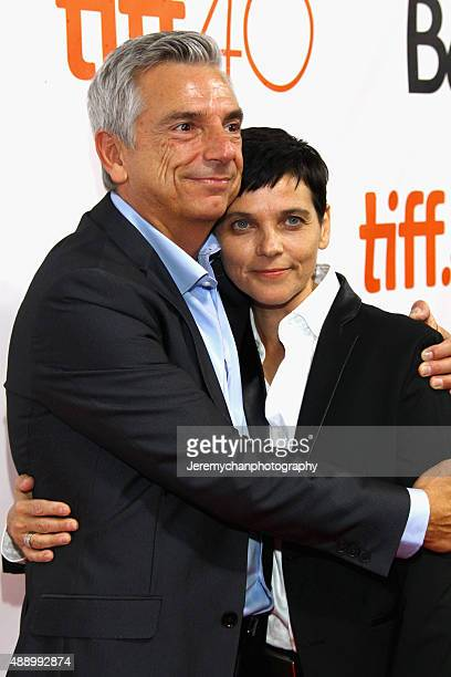 Actor Richard Jutras and actor Joanne Vannicola attend the Stonewall premiere during the 2015 Toronto International Film Festival held at Roy Thomson...