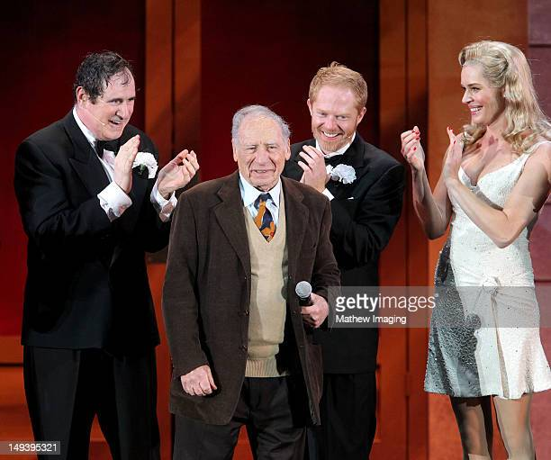 Actor Richard Kind producer Mel Brooks actor Jesse Tyler Ferguson and actress Rebecca Romijn attend the Hollywood Bowl Presents The Producers A New...
