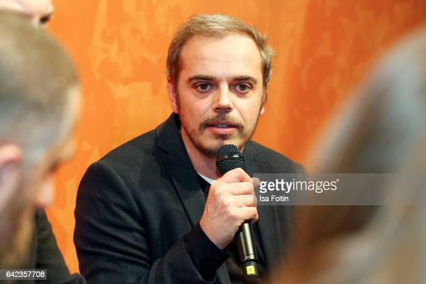 Actor Richard Kropf discuss with host Caro Matzko during the Berlinale Open House Panel '4 Blocks' at Audi Berlinale Lounge on February 17, 2017 in...