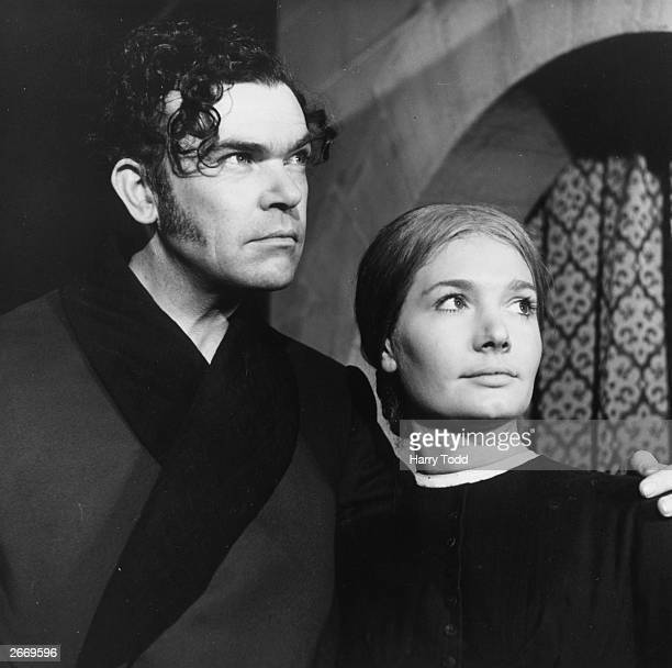 Actor Richard Leech as Mr Rochester and actress Ann Bell in the title roll of Jane Eyre being serialised by the BBC at the Television Centre,...