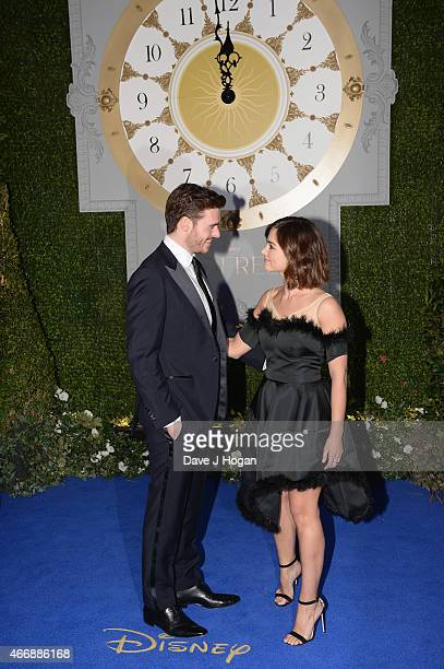 Actor Richard Madden and JennaLouise Coleman attend the UK Premiere of 'Cinderella' at Odeon Leicester Square on March 19 2015 in London England