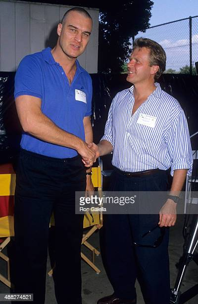 Actor Richard Moll and actor David Rasche attend Alpo's 11th Bi-Annual Actors and Others for Animals Celebrity Fair on August 30, 1987 at Burbank...